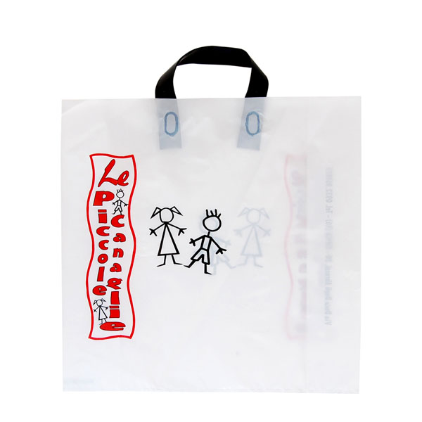 shopper in plastica con maniglia applicata